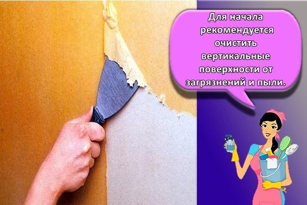 Для начала рекомендуется очистить вертикальные поверхности от загрязнений и пыли.