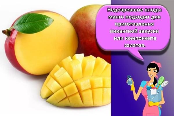 Недозревшие плоды манго подходят для приготовления пикантной закуски или компонента салатов.