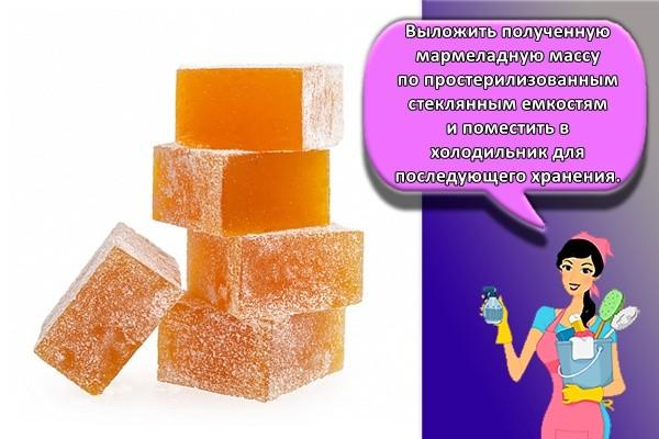 Выложить полученную мармеладную массу по простерилизованным стеклянным емкостям и поместить в холодильник для последующего хранения.