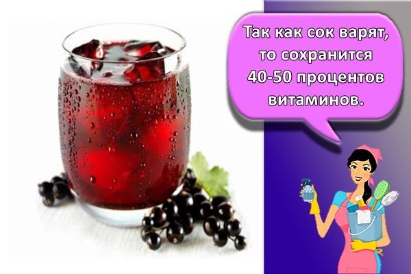 Так как сок варят, то сохранится 40-50 процентов витаминов.