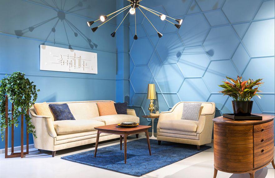 гостиная в стиле хай тек в синем