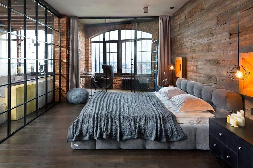 дизайн спальни в стиле лофт черная
