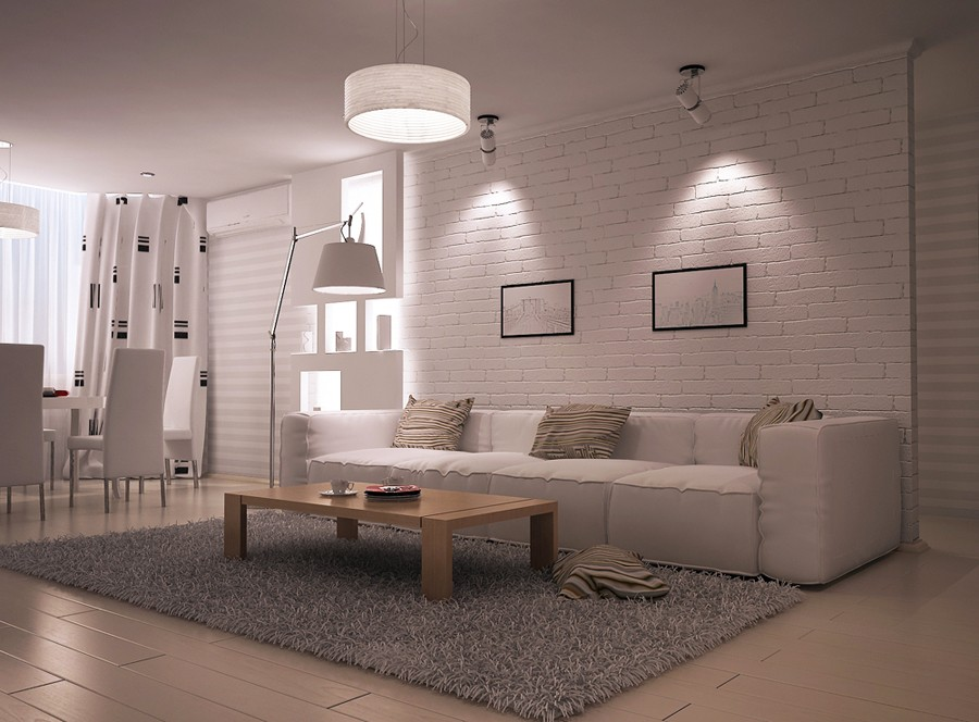 Несмотря на то, что коричневый бывает темным цветом, его тоже часто используют в оформлении гостиных в стиле лофт.