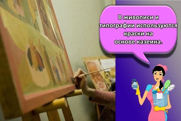 В живописи и типографии используются краски на основе казеина.