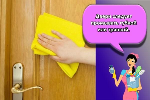 Двери следует промывать губкой или тряпкой.