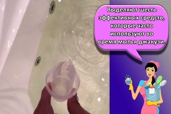 Выделяют шесть эффективных средств, которые часто используют во время мытья джакузи.