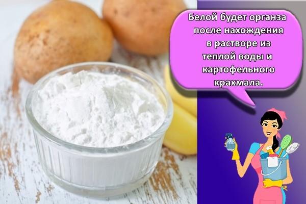 Белой будет органза после нахождения в растворе из теплой воды и картофельного крахмала