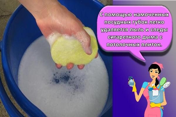 С помощью намоченных посудных губок легко удаляется пыль и следы сигаретного дыма с потолочных плиток
