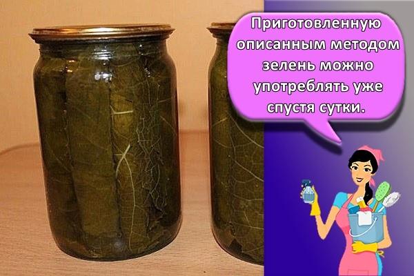 Приготовленную описанным методом зелень можно употреблять уже спустя сутки.
