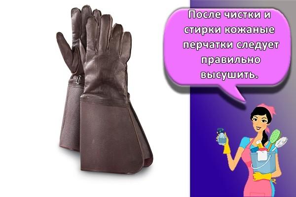 После чистки и стирки кожаные перчатки следует правильно высушить.