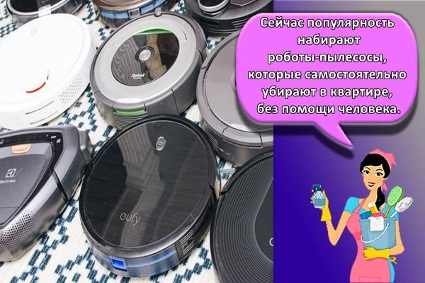 Сейчас популярность набирают роботы-пылесосы, которые самостоятельно убирают в квартире, без помощи человека.