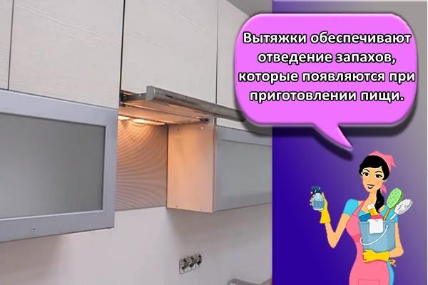 Вытяжки обеспечивают отведение запахов, которые появляются при приготовлении пищи.