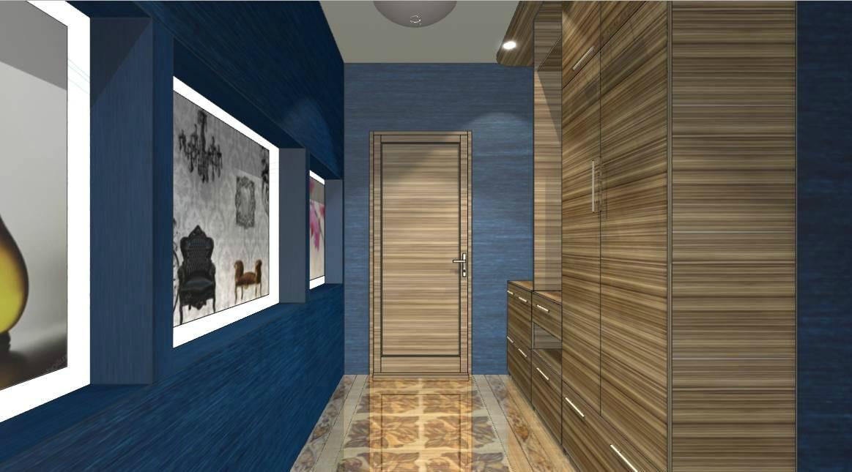 Насыщенный синий цвет в отделке прихожей наполняет помещение свежестью и создает ощущение чистоты.
