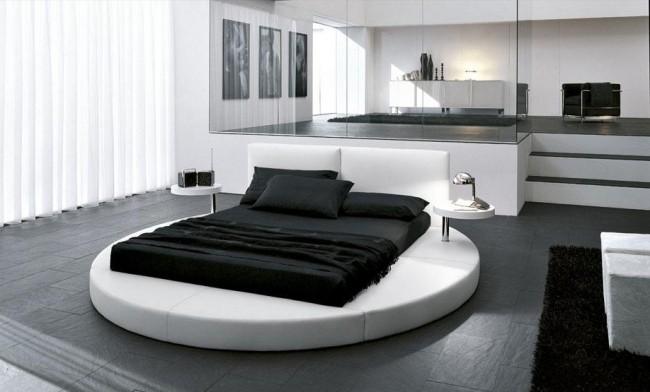 В отделке стен, потолка, пола, основной упор делают на белый цвет, если окна спальни выходят на север или находятся в тени.