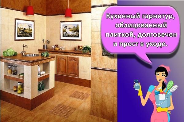 Кухонный гарнитур, облицованный плиткой, долговечен и прост в уходе.