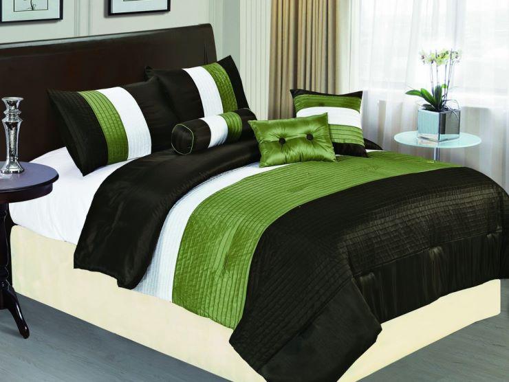 Зеленый и оливковый цвет на спальне