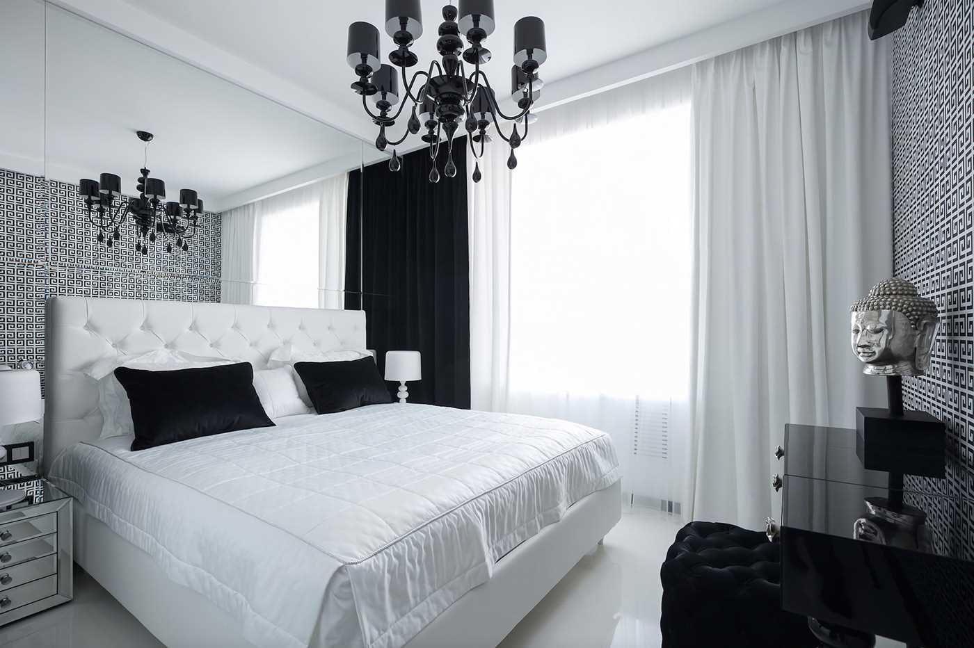 спальня черно белая