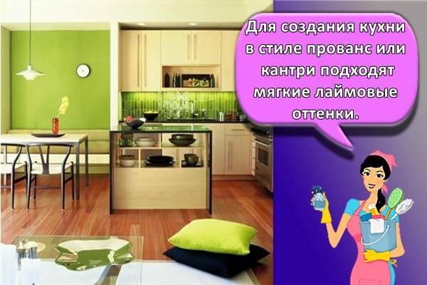 Для создания кухни в стиле прованс или кантри подходят мягкие лаймовые оттенки.