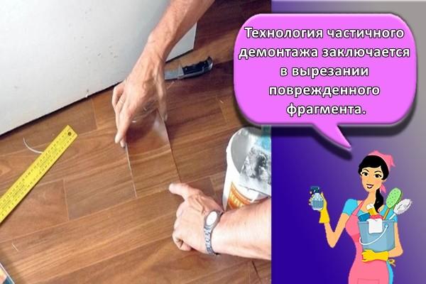Технология частичного демонтажа заключается в вырезании поврежденного фрагмента.