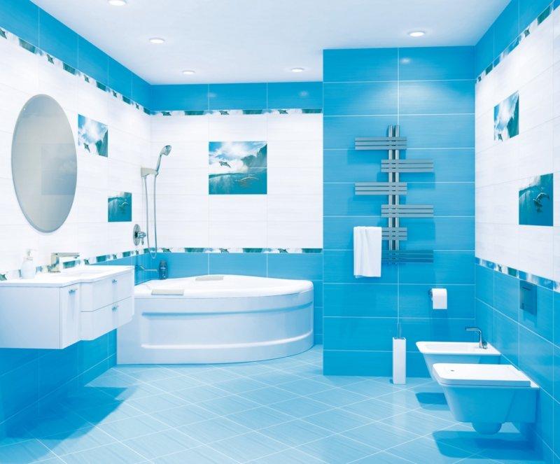 ванна в голубом цвете стиль модерн
