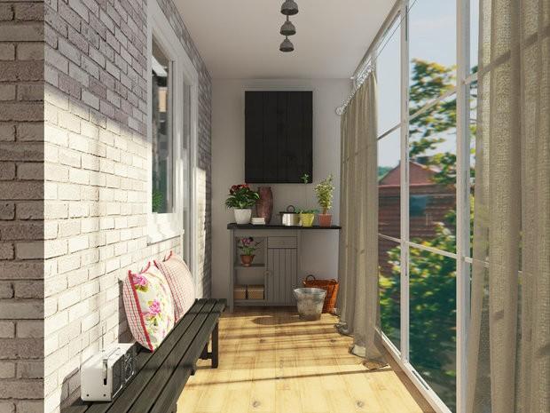 Для оформления стен балкона кирпичная кладка – идеальный вариант при создании стиля лофт.