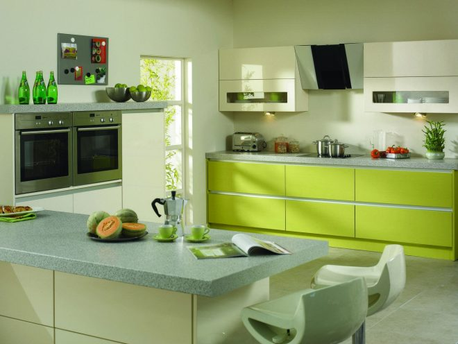кухня цвета лайм стиль Хай-тек
