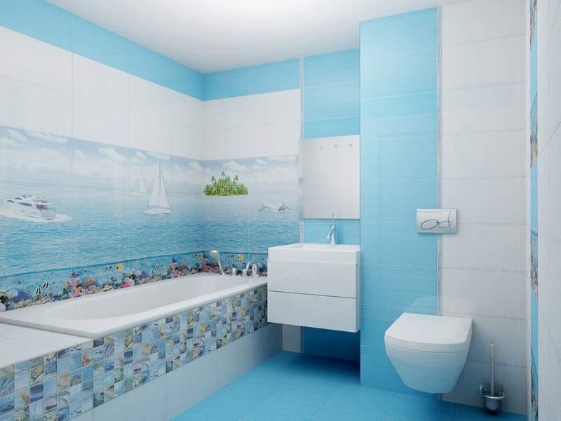 Перед тем, как выбрать оттенок голубого, стоит определиться со стилем будущей ванны.