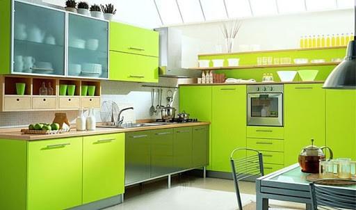 кухня цвета лайм стиль Эклектика