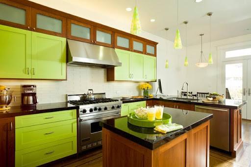 кухня цвета лайм стиль Лофт