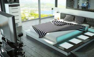 Идеи для красивого дизайна интерьера спальни в стиле хай-тек и как лучше оформить
