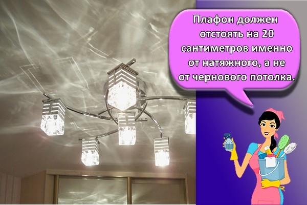 Плафон должен отстоять на 20 сантиметров именно от натяжного, а не от чернового потолка.