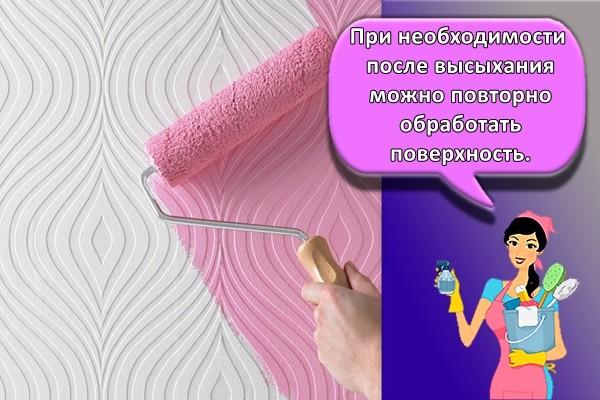 При необходимости после высыхания можно повторно обработать поверхность.