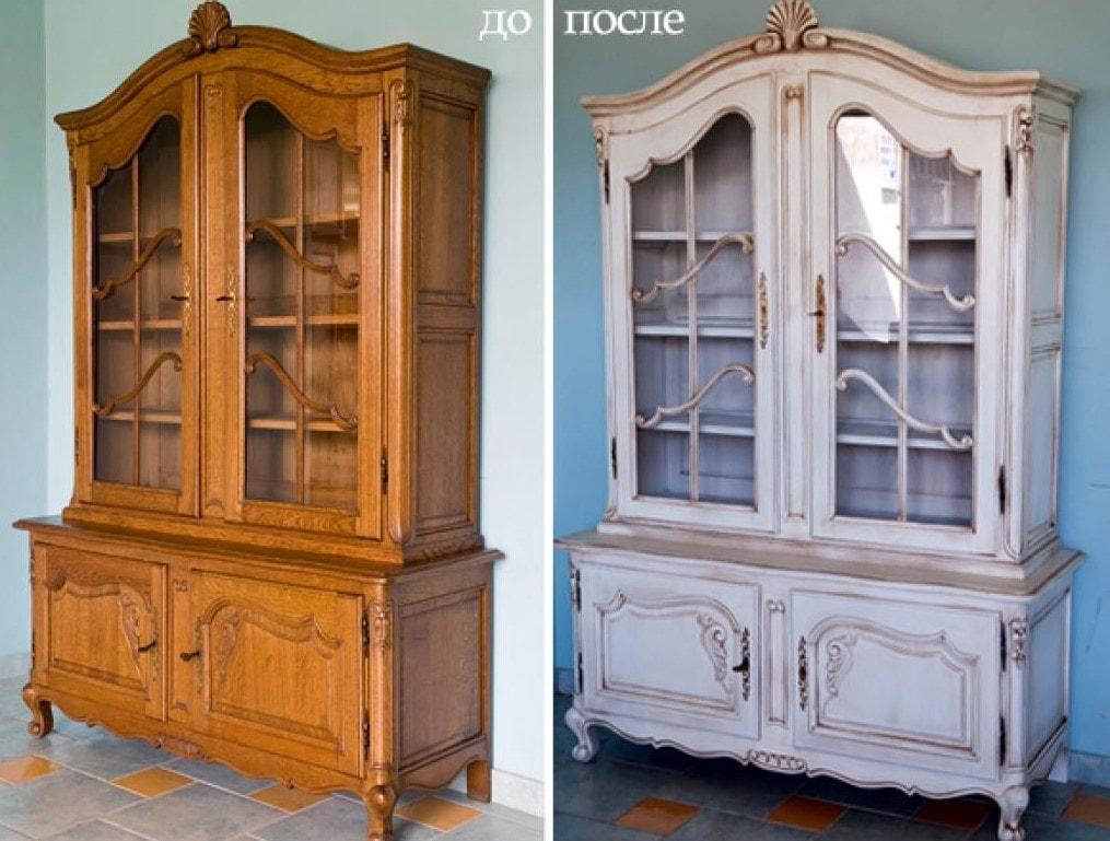 как покрасить лакированную мебель без снятия лака