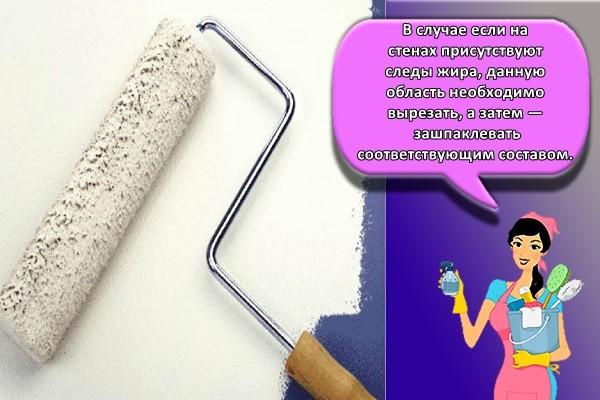 В случае если на стенах присутствуют следы жира, данную область необходимо вырезать, а затем — зашпаклевать соответствующим составом.