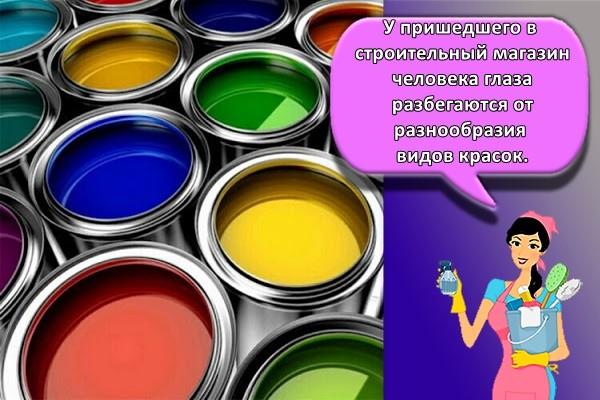 У пришедшего в строительный магазин человека глаза разбегаются от разнообразия видов красок.
